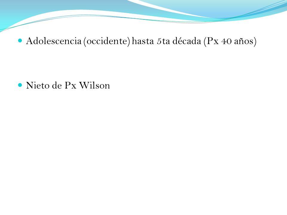 Adolescencia (occidente) hasta 5ta década (Px 40 años) Nieto de Px Wilson