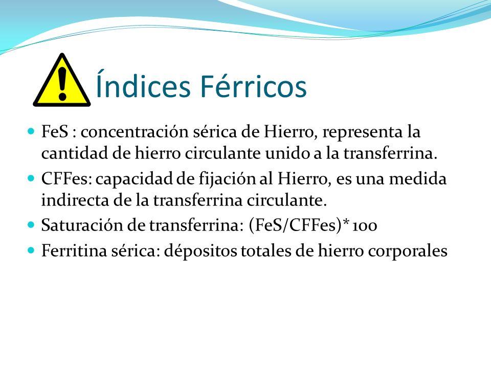 Índices Férricos FeS : concentración sérica de Hierro, representa la cantidad de hierro circulante unido a la transferrina. CFFes: capacidad de fijaci