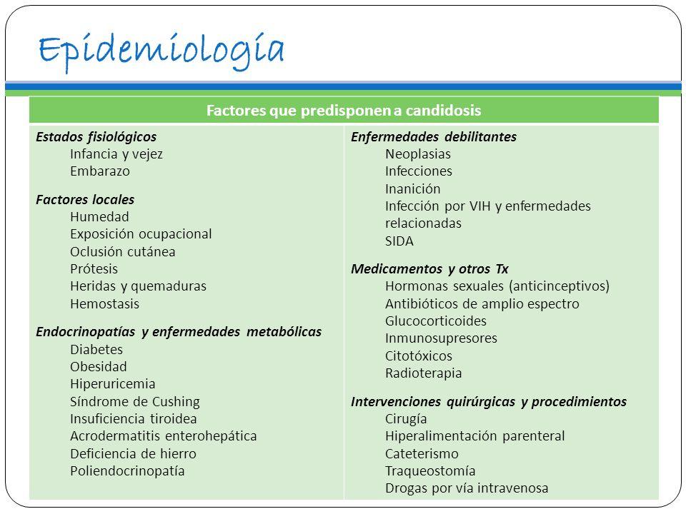 Epidemiología Factores que predisponen a candidosis Estados fisiológicos Infancia y vejez Embarazo Factores locales Humedad Exposición ocupacional Ocl