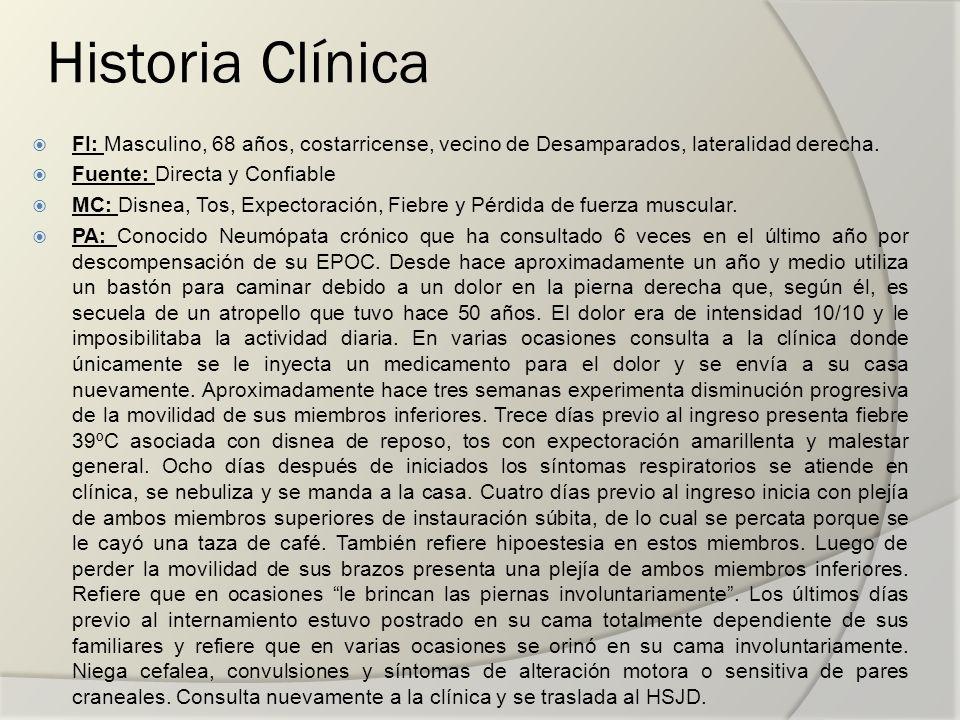 Historia Clínica FI: Masculino, 68 años, costarricense, vecino de Desamparados, lateralidad derecha. Fuente: Directa y Confiable MC: Disnea, Tos, Expe