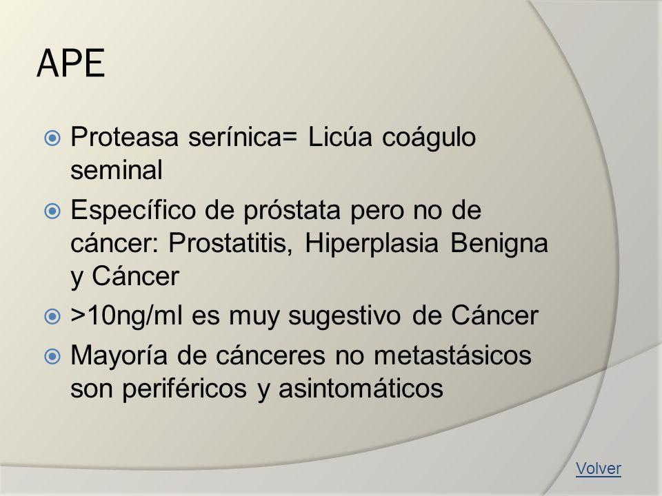 APE Proteasa serínica= Licúa coágulo seminal Específico de próstata pero no de cáncer: Prostatitis, Hiperplasia Benigna y Cáncer >10ng/ml es muy suges