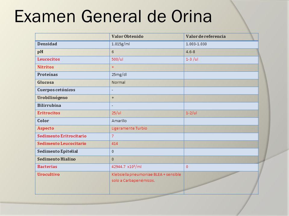 Examen General de Orina Valor ObtenidoValor de referencia Densidad 1.015g/ml1.003-1.030 pH 64.6-8 Leucocitos 500/ul1-3 /ul Nitritos + Proteínas 25mg/d