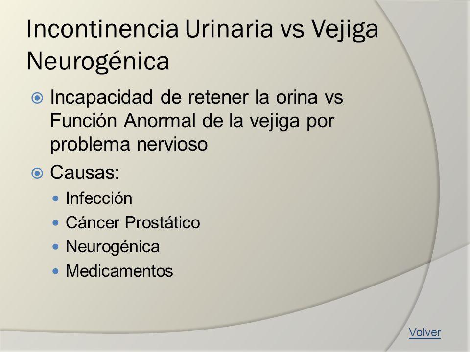 Incontinencia Urinaria vs Vejiga Neurogénica Incapacidad de retener la orina vs Función Anormal de la vejiga por problema nervioso Causas: Infección C