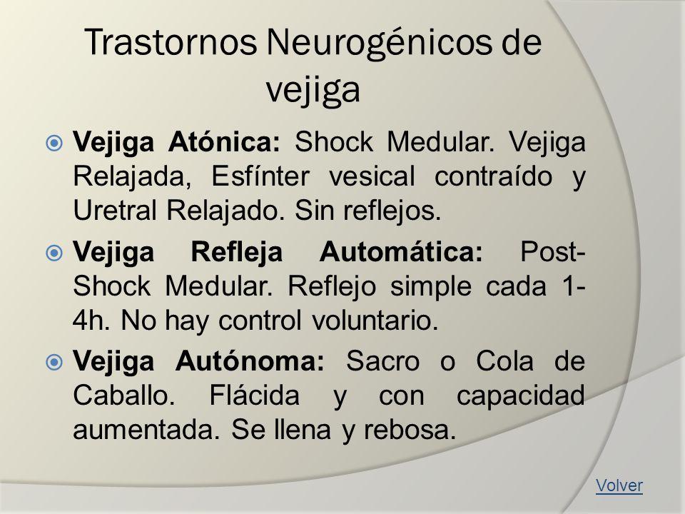 Trastornos Neurogénicos de vejiga Vejiga Atónica: Shock Medular. Vejiga Relajada, Esfínter vesical contraído y Uretral Relajado. Sin reflejos. Vejiga