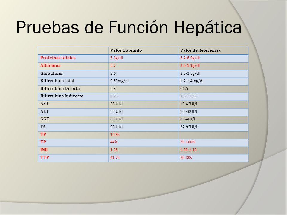 Pruebas de Función Hepática Valor ObtenidoValor de Referencia Proteínas totales 5.3g/dl6.2-8.0g/dl Albúmina 2.73.5-5.1g/dl Globulinas 2.62.0-3.5g/dl B