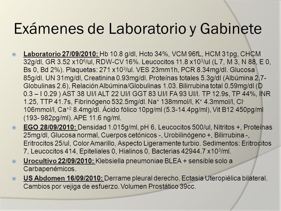Exámenes de Laboratorio y Gabinete Laboratorio 27/09/2010: Hb 10.8 g/dl, Hcto 34%, VCM 96fL, HCM 31pg, CHCM 32g/dl, GR 3.52 x10 6 /ul, RDW-CV 16%. Leu