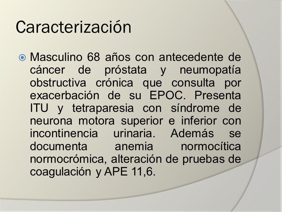Caracterización Masculino 68 años con antecedente de cáncer de próstata y neumopatía obstructiva crónica que consulta por exacerbación de su EPOC. Pre
