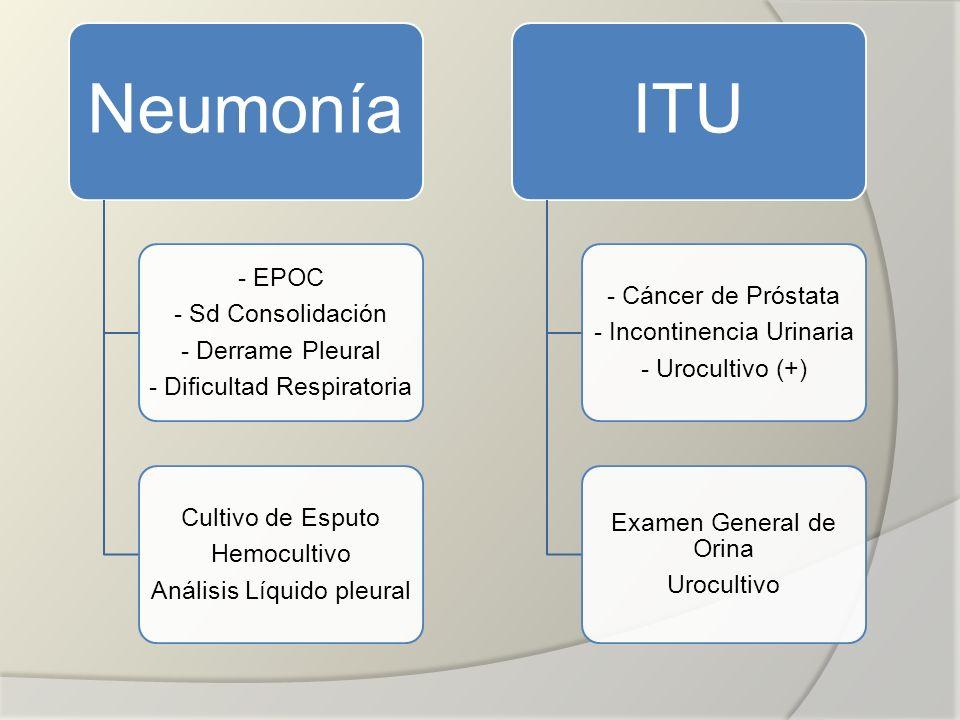 Neumonía - EPOC - Sd Consolidación - Derrame Pleural - Dificultad Respiratoria Cultivo de Esputo Hemocultivo Análisis Líquido pleural ITU - Cáncer de