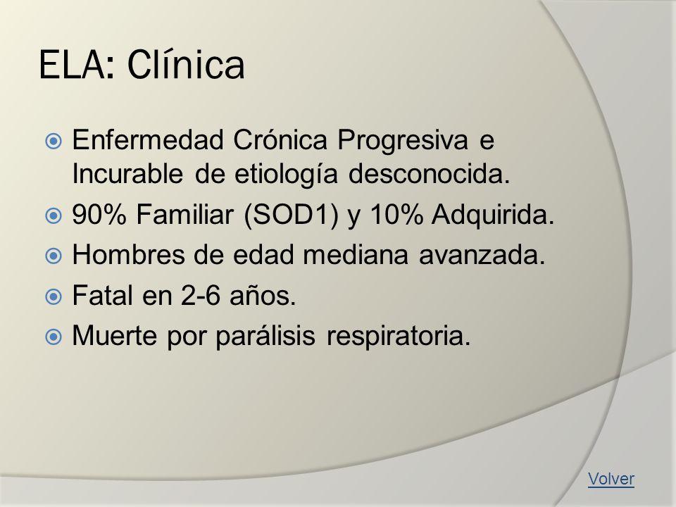 ELA: Clínica Enfermedad Crónica Progresiva e Incurable de etiología desconocida. 90% Familiar (SOD1) y 10% Adquirida. Hombres de edad mediana avanzada