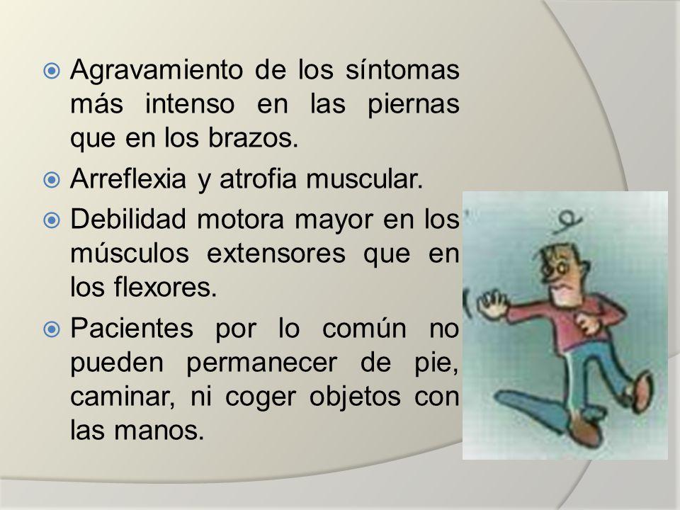 Agravamiento de los síntomas más intenso en las piernas que en los brazos. Arreflexia y atrofia muscular. Debilidad motora mayor en los músculos exten