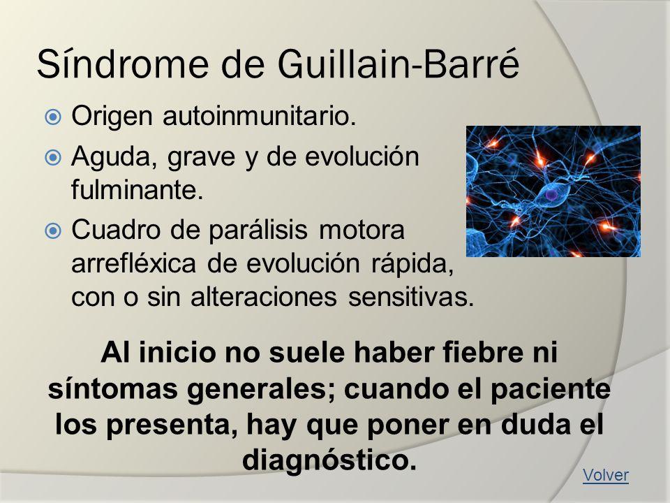 Síndrome de Guillain-Barré Origen autoinmunitario. Aguda, grave y de evolución fulminante. Cuadro de parálisis motora arrefléxica de evolución rápida,