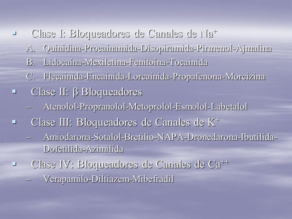 Clase I: Bloqueadores de Canales de Na + Clase I: Bloqueadores de Canales de Na + A.Quinidina-Procainamida-Disopiramida-Pirmenol-Ajmalina B.Lidocaína-Mexiletina-Fenitoína-Tocainida C.Flecainida-Encainida-Lorcainida-Propafenona-Morcizina Clase II: β Bloqueadores Clase II: β Bloqueadores –Atenolol-Propranolol-Metoprolol-Esmolol-Labetalol Clase III: Bloqueadores de Canales de K + Clase III: Bloqueadores de Canales de K + –Amiodarona-Sotalol-Bretilio-NAPA-Dronedarona-Ibutilida- Dofetilida-Azimilida Clase IV: Bloqueadores de Canales de Ca ++ Clase IV: Bloqueadores de Canales de Ca ++ –Verapamilo-Diltiazem-Mibefradil