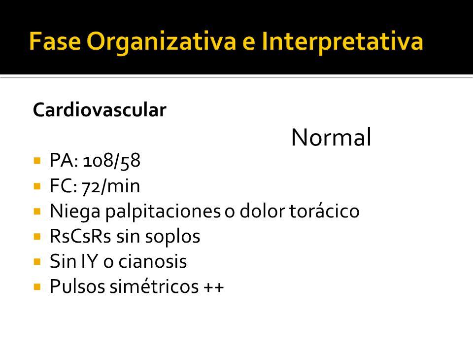 Cardiovascular PA: 108/58 FC: 72/min Niega palpitaciones o dolor torácico RsCsRs sin soplos Sin IY o cianosis Pulsos simétricos ++ Normal
