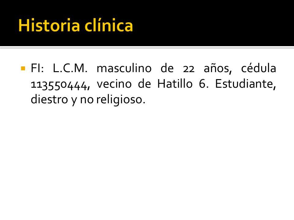 Metabolismo ParámetroPacienteReferencia Proteínas totales3,9 g/dl6,2 - 8 Albúmina1,2 g/dl3,5 - 5 Globulinas2,7 g/dl2 – 3,5 Colesterol318 mg/dl< 200 Triglicéridos112 mg/dl< 160 Colesterol/HDL62, 85 - 5, 71 HDL56 mg/dl35 – 70 mg/dl LDL234,6 mg/dl < 130 mg/dl