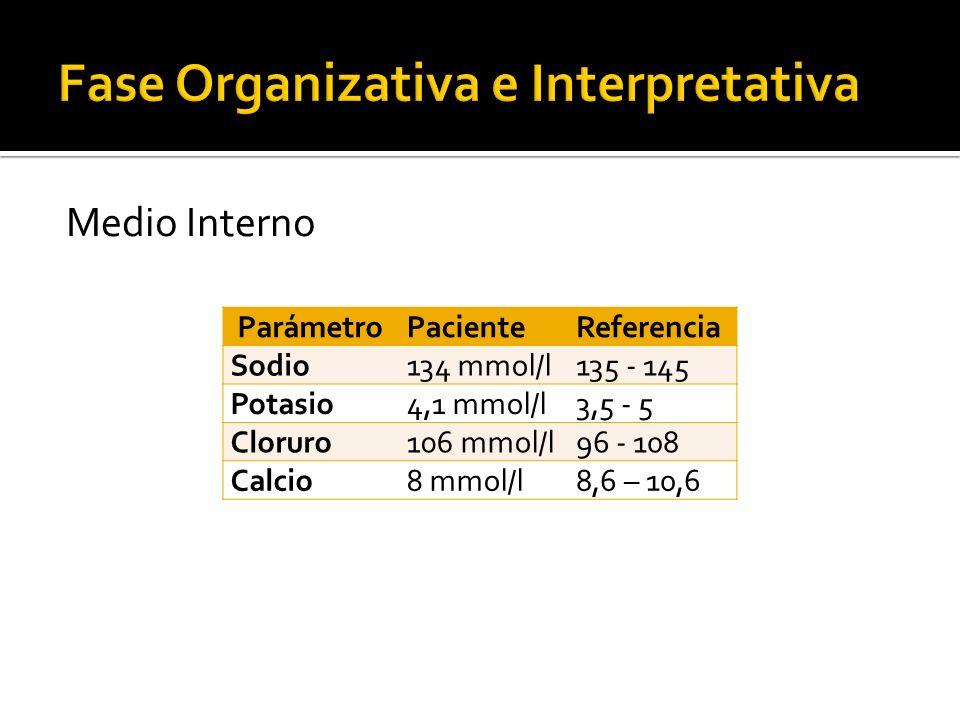 Medio Interno ParámetroPacienteReferencia Sodio134 mmol/l135 - 145 Potasio4,1 mmol/l3,5 - 5 Cloruro106 mmol/l96 - 108 Calcio8 mmol/l8,6 – 10,6
