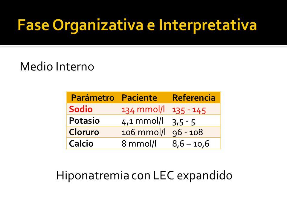 Medio Interno ParámetroPacienteReferencia Sodio134 mmol/l135 - 145 Potasio4,1 mmol/l3,5 - 5 Cloruro106 mmol/l96 - 108 Calcio8 mmol/l8,6 – 10,6 Hiponat