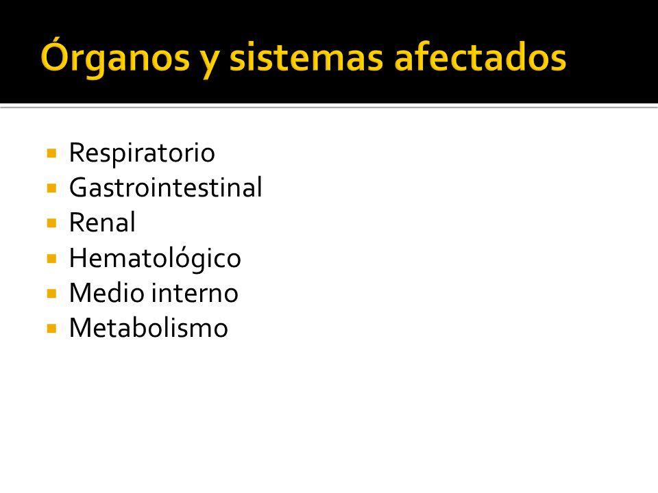 Respiratorio Gastrointestinal Renal Hematológico Medio interno Metabolismo