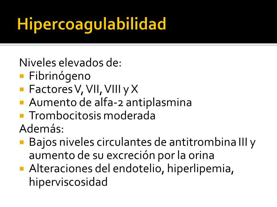 Niveles elevados de: Fibrinógeno Factores V, VII, VIII y X Aumento de alfa-2 antiplasmina Trombocitosis moderada Además: Bajos niveles circulantes de
