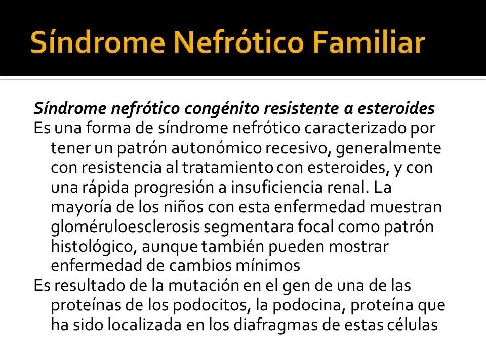 Síndrome nefrótico congénito resistente a esteroides Es una forma de síndrome nefrótico caracterizado por tener un patrón autonómico recesivo, general