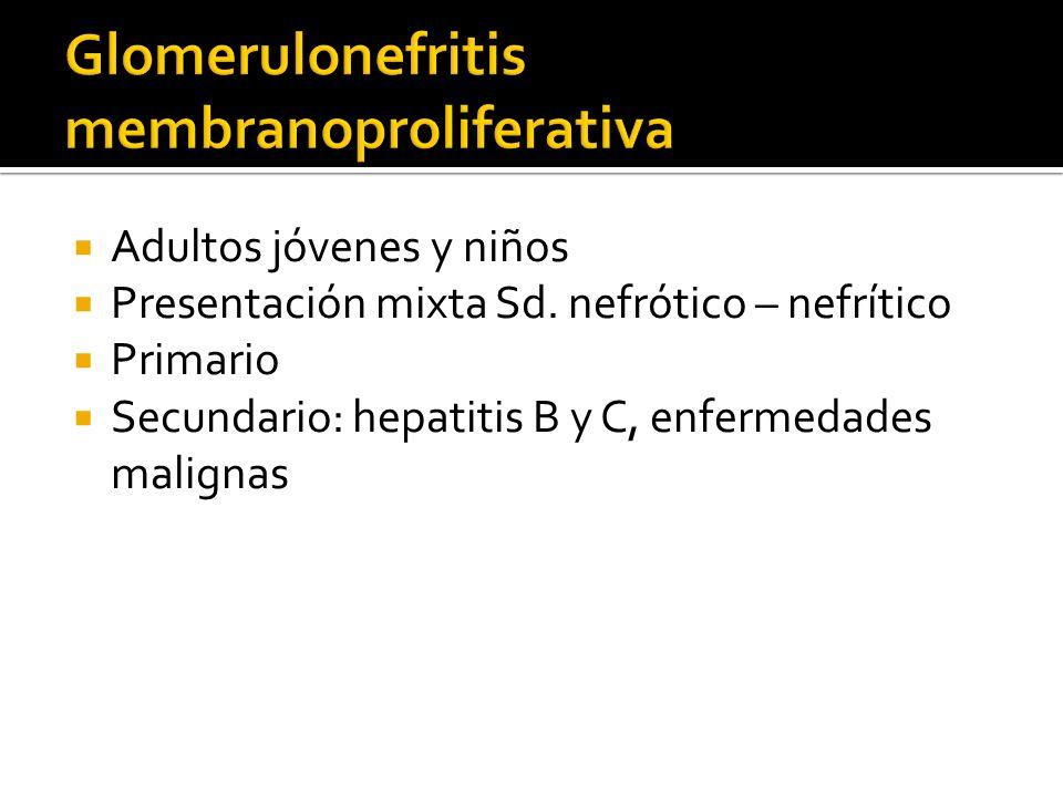 Adultos jóvenes y niños Presentación mixta Sd. nefrótico – nefrítico Primario Secundario: hepatitis B y C, enfermedades malignas