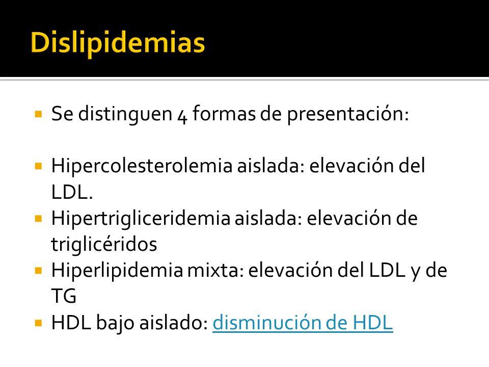 Se distinguen 4 formas de presentación: Hipercolesterolemia aislada: elevación del LDL. Hipertrigliceridemia aislada: elevación de triglicéridos Hiper