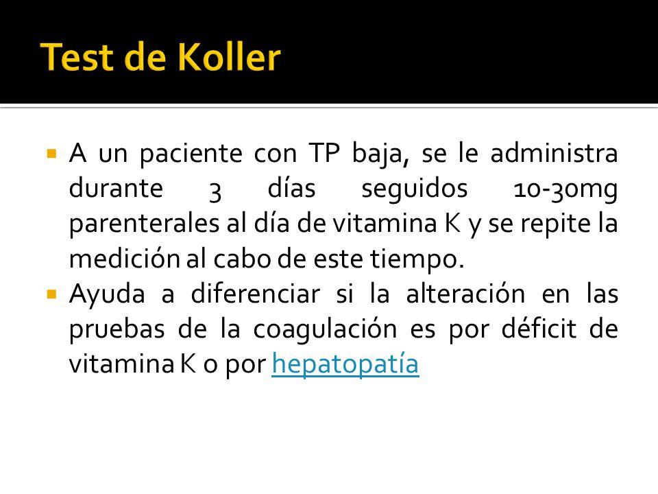 A un paciente con TP baja, se le administra durante 3 días seguidos 10-30mg parenterales al día de vitamina K y se repite la medición al cabo de este