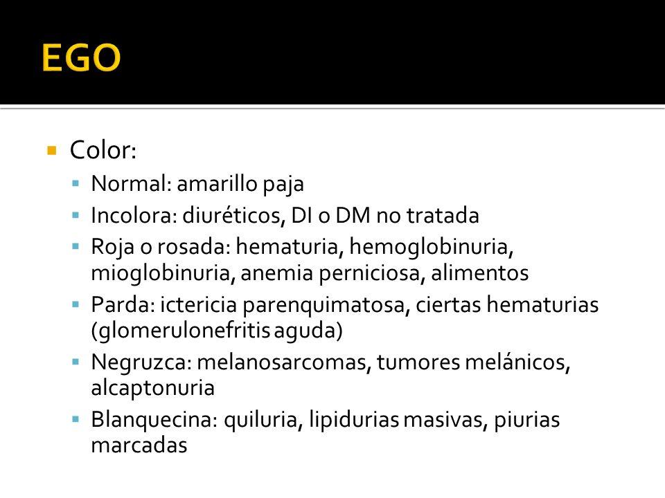 Color: Normal: amarillo paja Incolora: diuréticos, DI o DM no tratada Roja o rosada: hematuria, hemoglobinuria, mioglobinuria, anemia perniciosa, alim