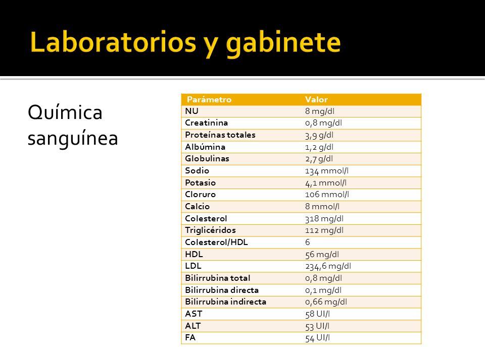 EGO ParámetroValor Densidad1015 pH6 Proteínas totales+++ GlucosaNo hay CetonasTrazas BilirrubinaNo hay Sangre oculta+++ UrobilinógenoNo hay NitritosNegativo Leucocitos20/campo Eritrocitos6/campo Cilindros granulosos gruesos 1/campo Células epitelialesPocas CristalesNo hay