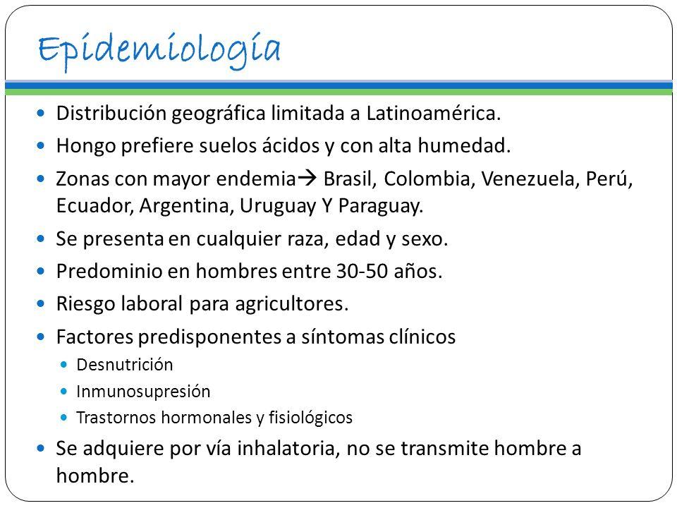 Epidemiología Distribución geográfica limitada a Latinoamérica. Hongo prefiere suelos ácidos y con alta humedad. Zonas con mayor endemia Brasil, Colom