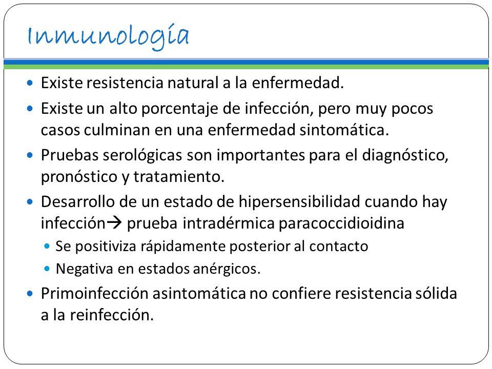 Inmunología Existe resistencia natural a la enfermedad. Existe un alto porcentaje de infección, pero muy pocos casos culminan en una enfermedad sintom