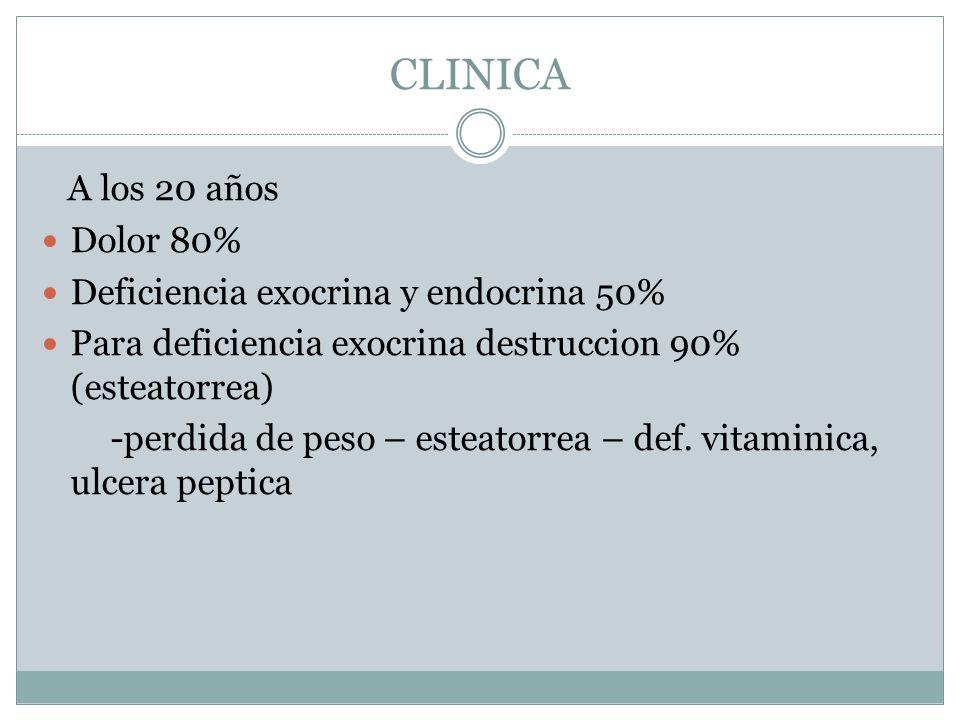CLINICA A los 20 años Dolor 80% Deficiencia exocrina y endocrina 50% Para deficiencia exocrina destruccion 90% (esteatorrea) -perdida de peso – esteat