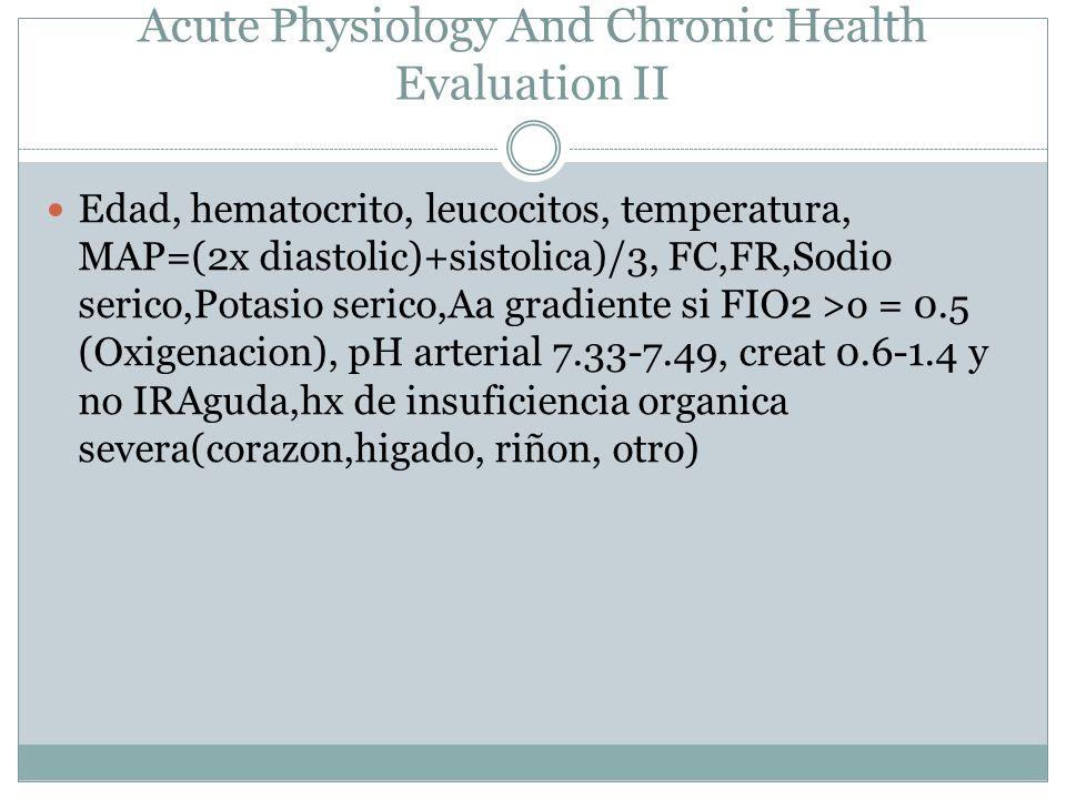 APACHE Acute Physiology And Chronic Health Evaluation II Edad, hematocrito, leucocitos, temperatura, MAP=(2x diastolic)+sistolica)/3, FC,FR,Sodio seri