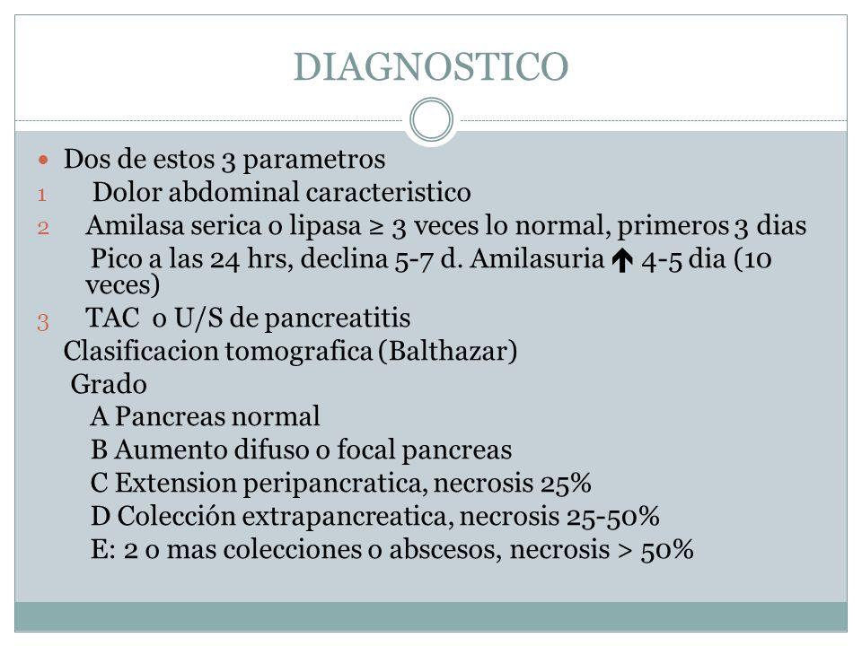 TRATAMIENTO Medico: - eliminar factor ambiental (OH) - analgesia - manejo DM - soporte psicosocial Endoscopico: - resolver obs pancreatica - dranaje del arbol biliar - drenaje de pseudoquiste - bloqueo plexo celiaco por USE Quirurgico: