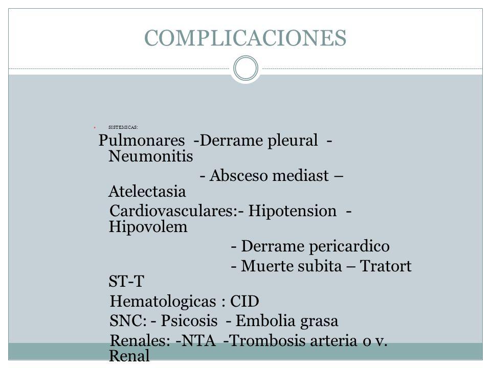 COMPLICACIONES SISTEMICAS: Pulmonares -Derrame pleural - Neumonitis - Absceso mediast – Atelectasia Cardiovasculares:- Hipotension - Hipovolem - Derra