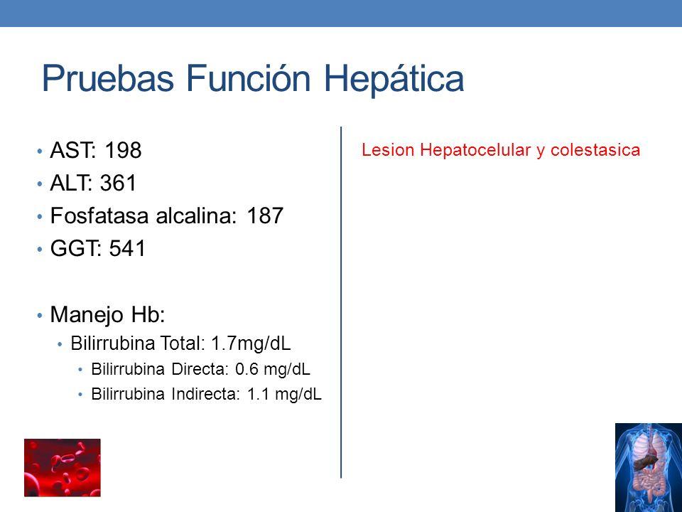 Pruebas Función Hepática AST: 198 ALT: 361 Fosfatasa alcalina: 187 GGT: 541 Manejo Hb: Bilirrubina Total: 1.7mg/dL Bilirrubina Directa: 0.6 mg/dL Bili