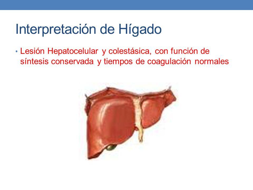 Interpretación de Hígado Lesión Hepatocelular y colestásica, con función de síntesis conservada y tiempos de coagulación normales