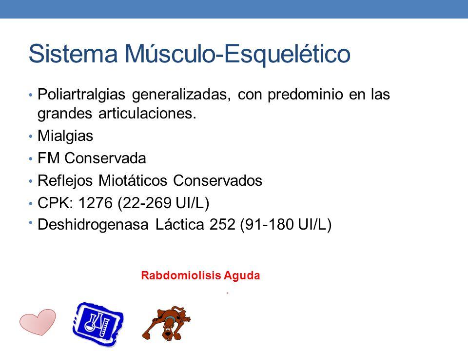 Sistema Músculo-Esquelético Poliartralgias generalizadas, con predominio en las grandes articulaciones. Mialgias FM Conservada Reflejos Miotáticos Con