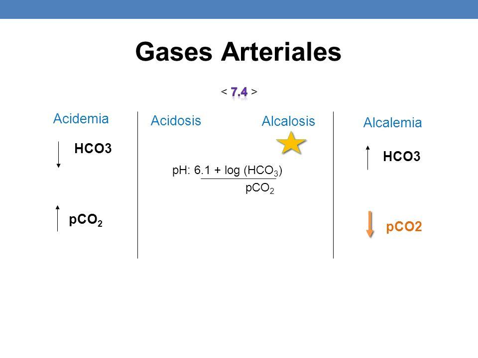 pCO 2 HCO3 pH: 6.1 + log (HCO 3 ) pCO 2 HCO3 pCO2 Acidosis Alcalosis Alcalemia Acidemia Gases Arteriales