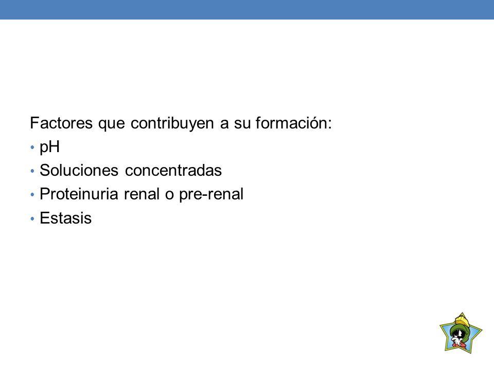Factores que contribuyen a su formación: pH Soluciones concentradas Proteinuria renal o pre-renal Estasis