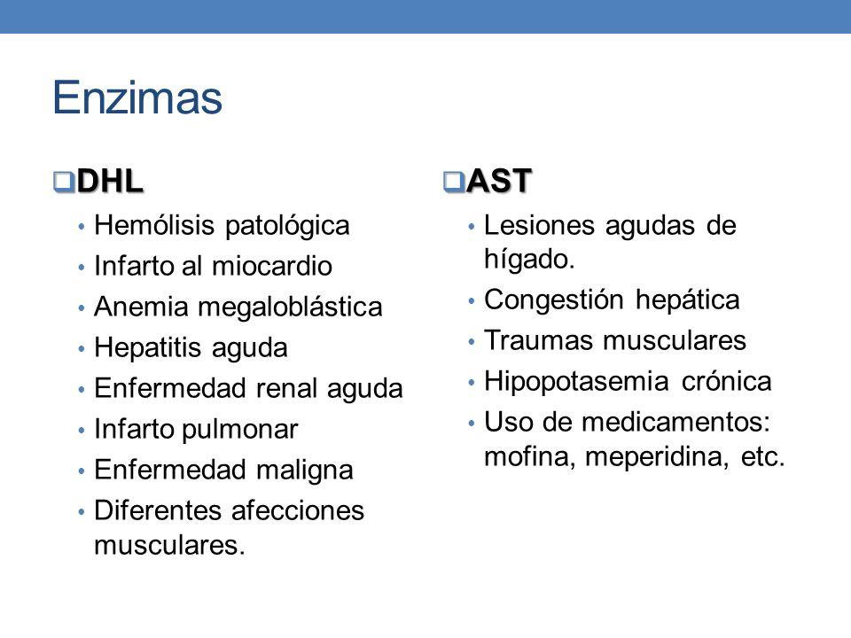 Enzimas DHL DHL Hemólisis patológica Infarto al miocardio Anemia megaloblástica Hepatitis aguda Enfermedad renal aguda Infarto pulmonar Enfermedad mal