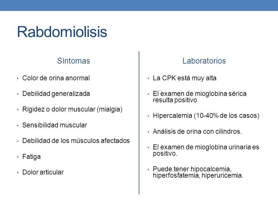 Rabdomiolisis Síntomas Color de orina anormal Debilidad generalizada Rigidez o dolor muscular (mialgia) Sensibilidad muscular Debilidad de los músculo
