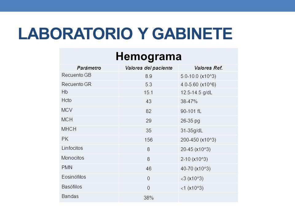 LABORATORIO Y GABINETE Hemograma Parámetro Valores del pacienteValores Ref. Recuento GB 8.95.0-10.0 (x10^3) Recuento GR 5.34.0-5.60 (x10^6) Hb 15.112.