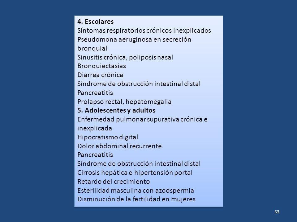 53 4. Escolares Síntomas respiratorios crónicos inexplicados Pseudomona aeruginosa en secreción bronquial Sinusitis crónica, poliposis nasal Bronquiec
