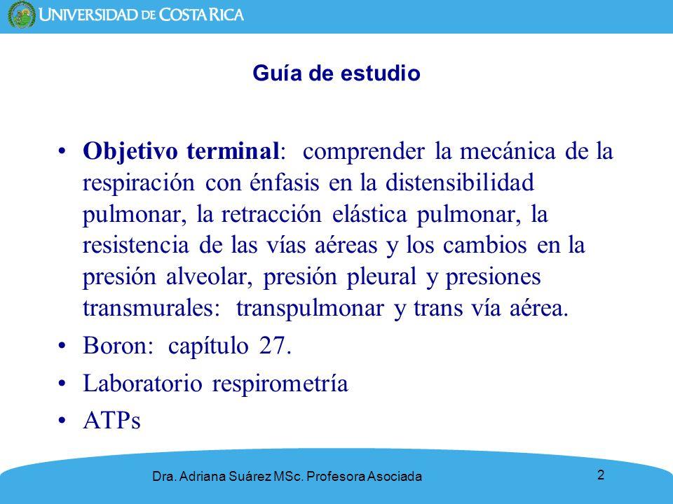 2 Guía de estudio Objetivo terminal: comprender la mecánica de la respiración con énfasis en la distensibilidad pulmonar, la retracción elástica pulmo