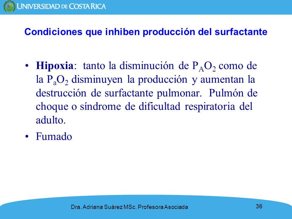 36 Condiciones que inhiben producción del surfactante Hipoxia: tanto la disminución de P A O 2 como de la P a O 2 disminuyen la producción y aumentan