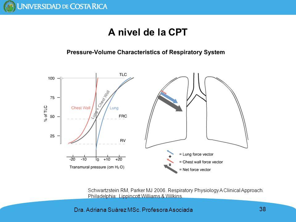 38 A nivel de la CPT Dra. Adriana Suárez MSc. Profesora Asociada Schwartzstein RM, Parker MJ 2006. Respiratory Physiology A Clinical Approach. Philade