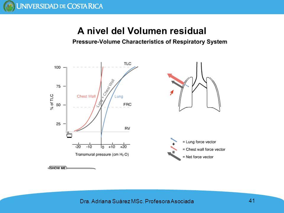 41 A nivel del Volumen residual Dra. Adriana Suárez MSc. Profesora Asociada