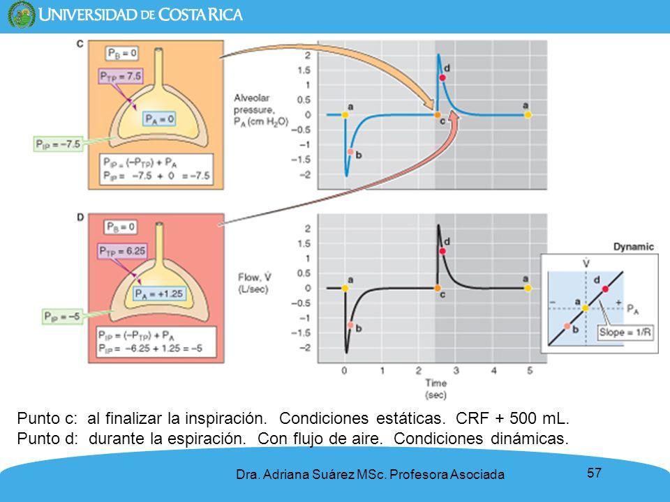 57 Punto c: al finalizar la inspiración. Condiciones estáticas. CRF + 500 mL. Punto d: durante la espiración. Con flujo de aire. Condiciones dinámicas