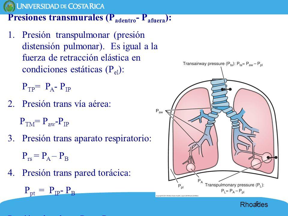 6 Presiones transmurales (P adentro - P afuera ): 1.Presión transpulmonar (presión distensión pulmonar). Es igual a la fuerza de retracción elástica e