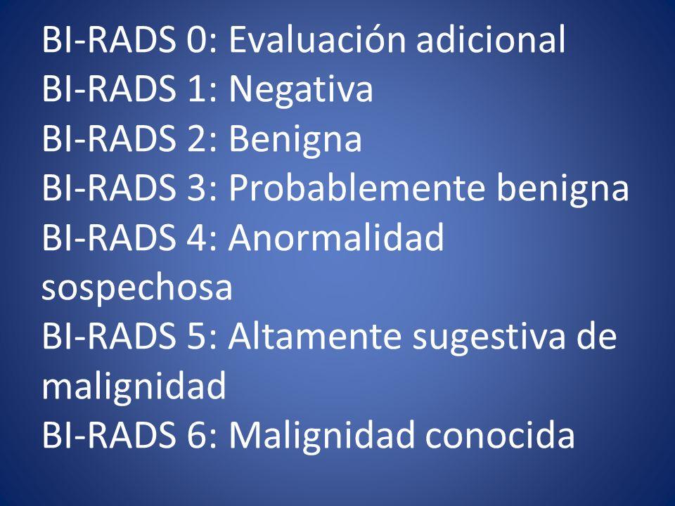 BI-RADS 0: Evaluación adicional BI-RADS 1: Negativa BI-RADS 2: Benigna BI-RADS 3: Probablemente benigna BI-RADS 4: Anormalidad sospechosa BI-RADS 5: A